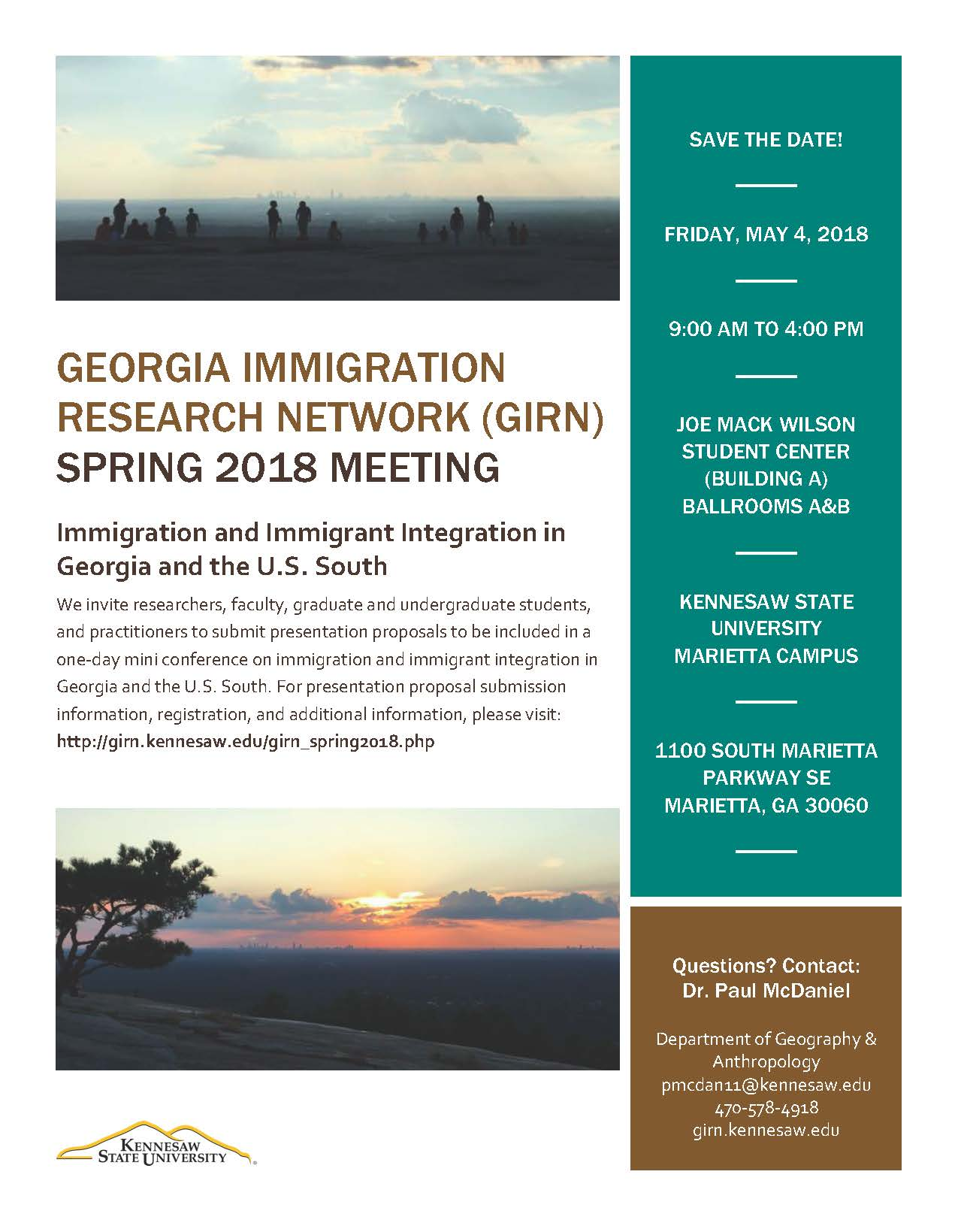 Georgia Immigration Research Network GIRN 2018 Flyer