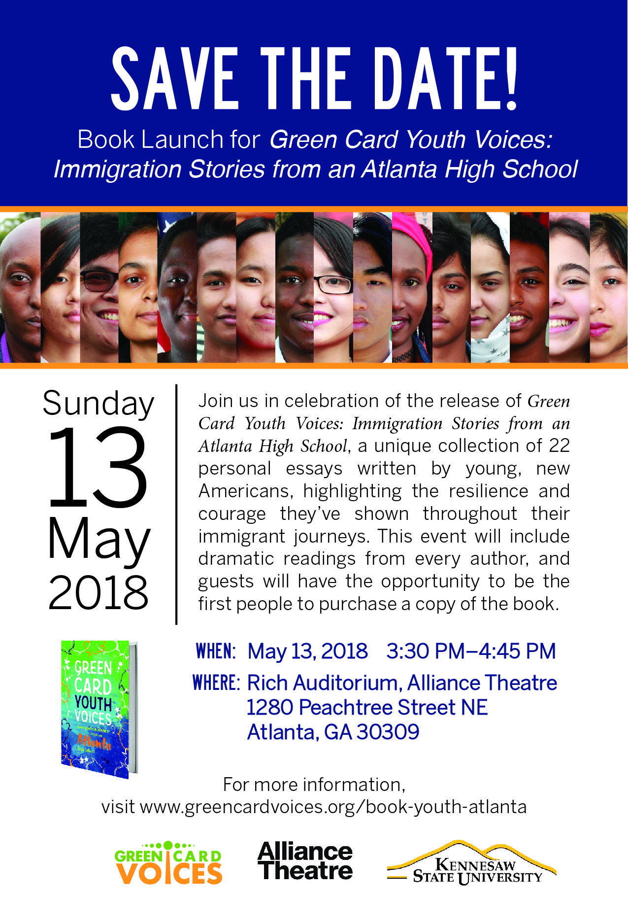 Green Card Youth Voices: Immigration Stories from an Atlanta High School Official Launch Event Flyer